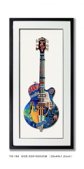Modern Wall Art Collage Art Guitar Vertical