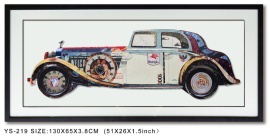 Collaged Work Vintage Car Wall Art