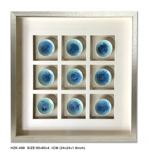 Shadow Box Ceramic Plate Blue