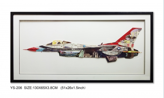 The plane Collage Art.  Wall Art 3D Prints