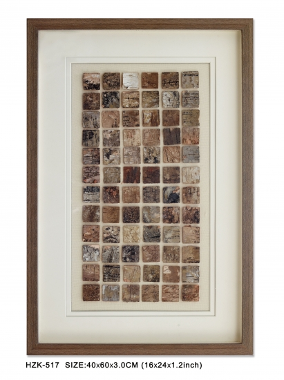 Bark shadow box with brown wooden frame
