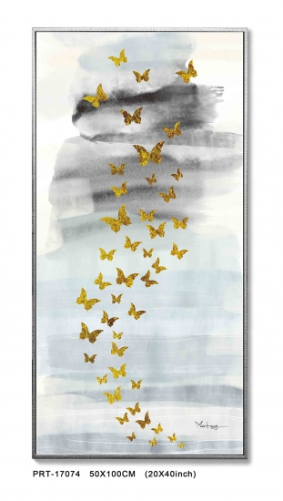 Abstract Foiled Butterfly Large Unframe Canvas