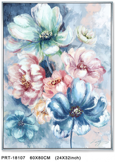 Abstract Blue And Pink Flower Poster Canvas