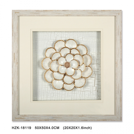 Fan Shell Flower shadow box Framed Art